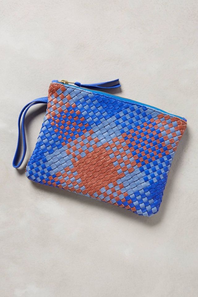 Plaidweave Leather Pouch by Claramonte