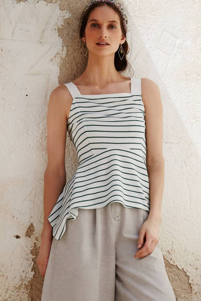Striped Peplum Tank by Deletta