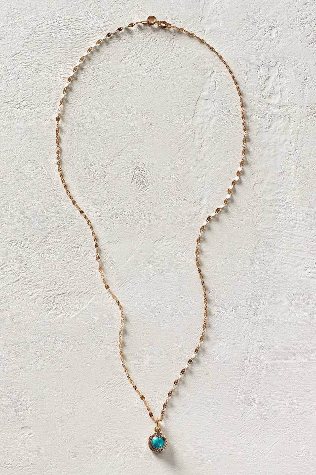 Turquoise Pendant Necklace in 14k Rose Gold by Arik Kastan