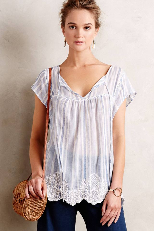 Pinstriped Peasant Tunic by Vanessa Virginia