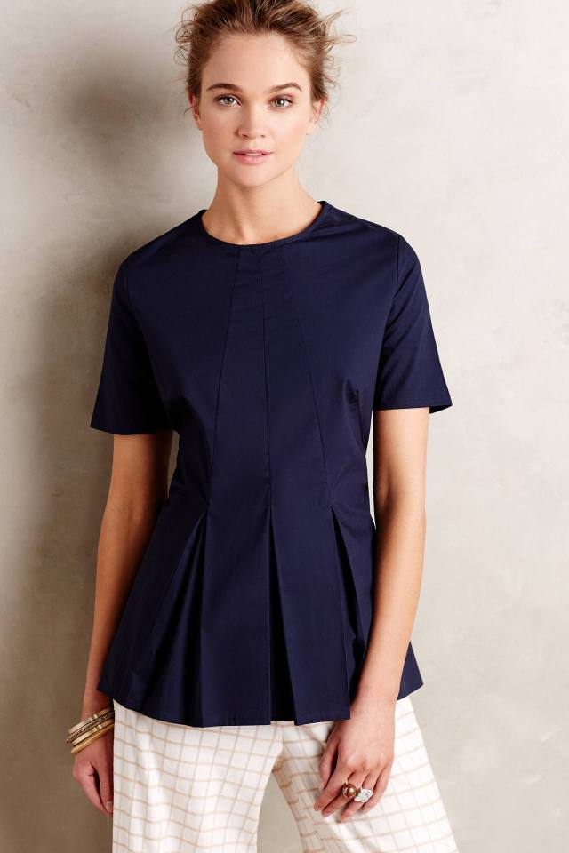 Pleated Poplin Top by HD in Paris