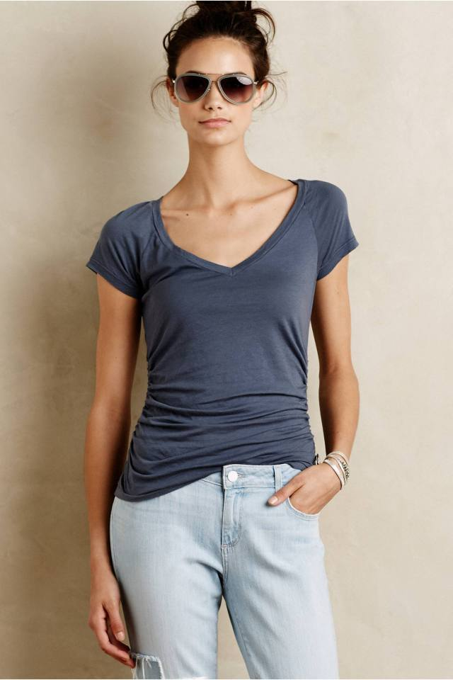 Side-Gathered Tee by Velvet by Graham and Spencer