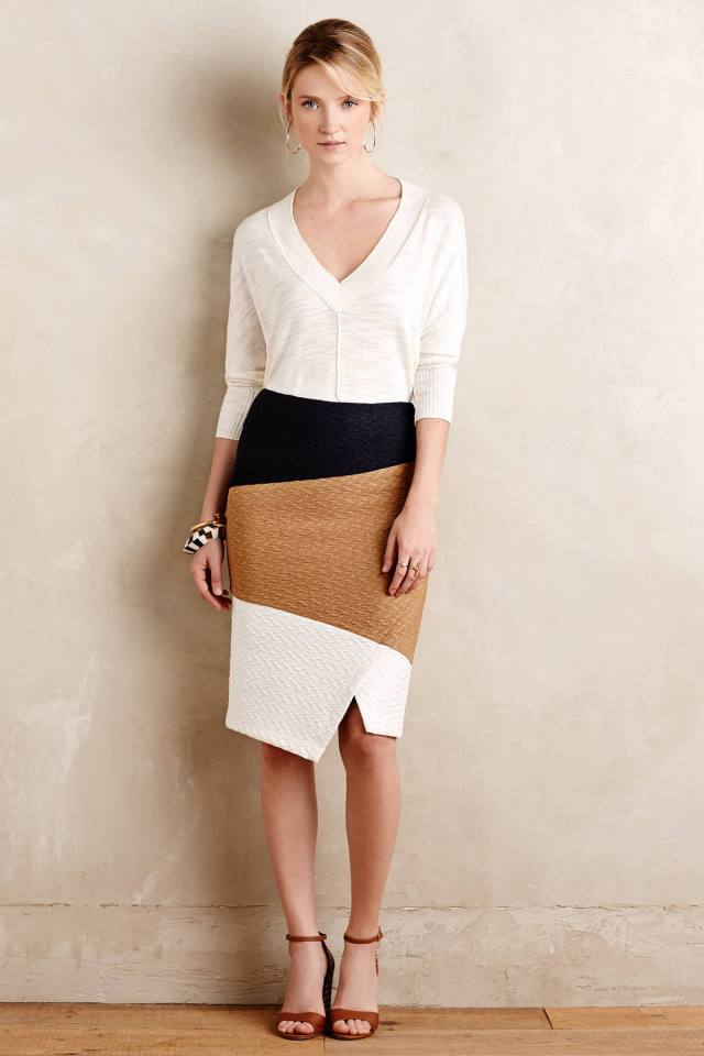Colorblocked Knit Pencil Skirt by HD in Paris