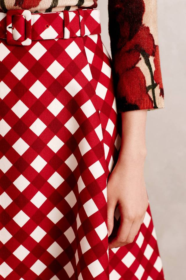 Checkered Midi Skirt by Peony by Samantha Sung