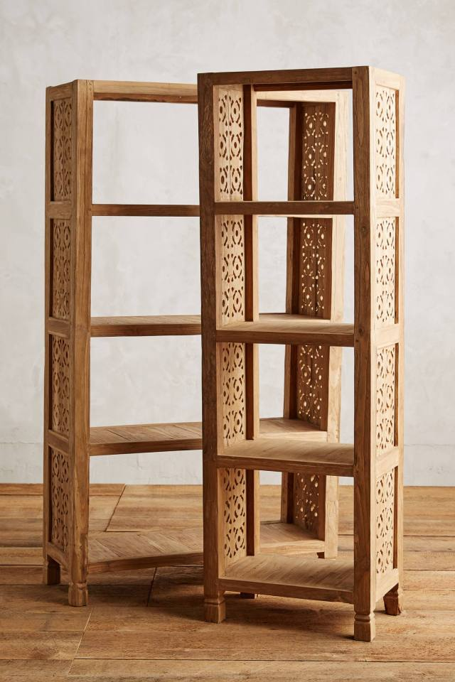 Handcarved Fretwork Narrow Bookcase