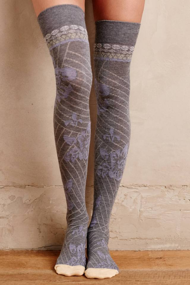 Frosted Floral Knee Socks by Lemon