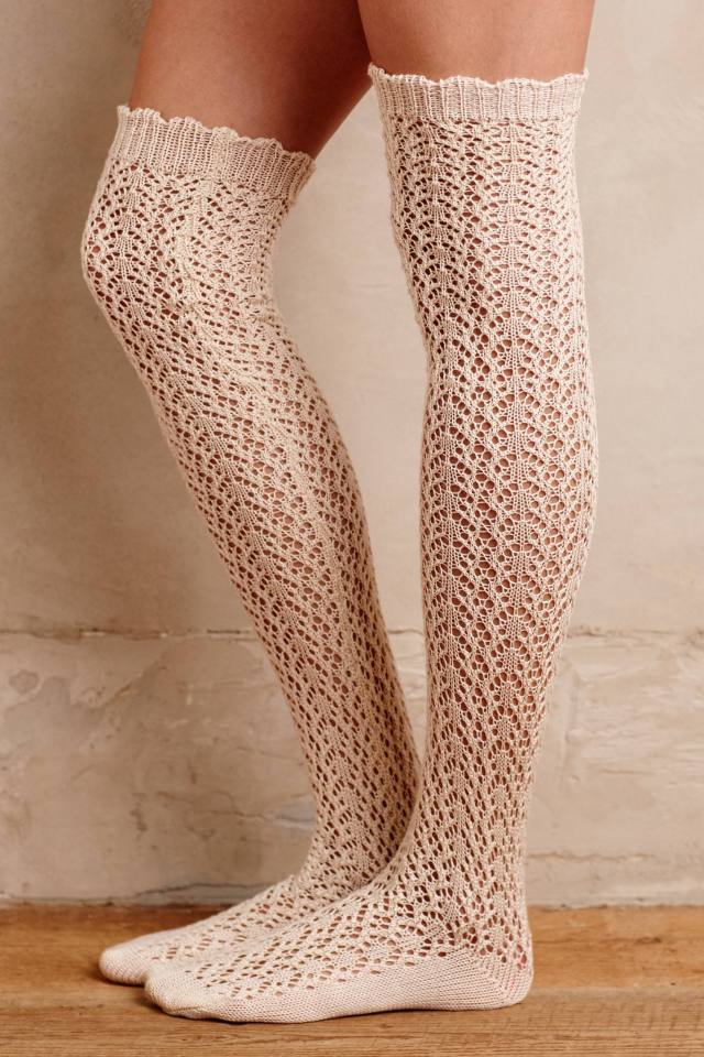 Pointelle Over-The-Knee Socks by Lemon