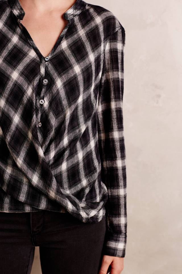 Plaid Surplice Blouse by Holding Horses