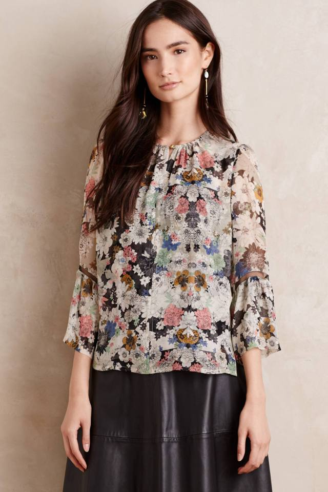 Sketched Silk Blouse by Twelfth Street by Cynthia Vincent