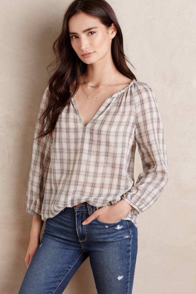 Slated Plaid Pullover by Velvet