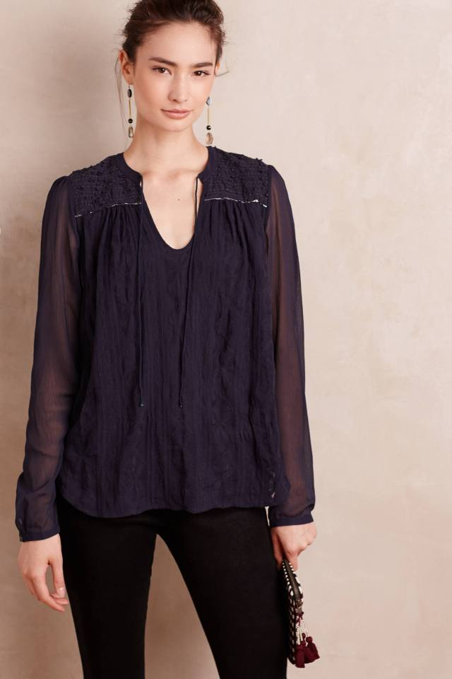 Embroidered Split-Neck Top by Tiny