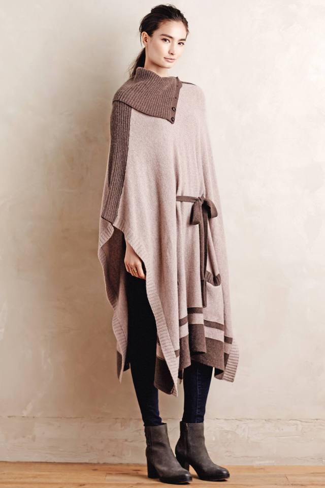 Cowled Cashmere Poncho by Moth