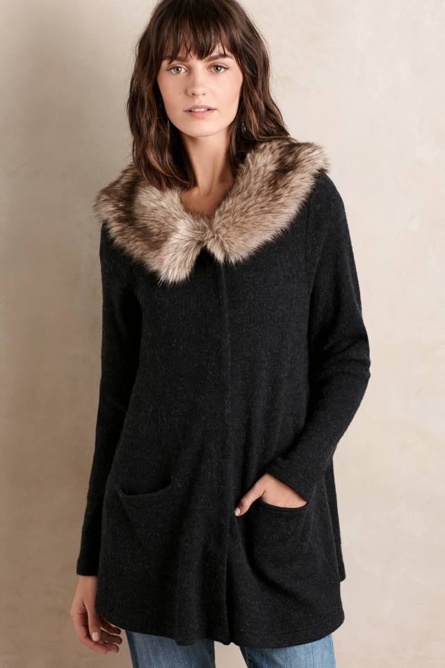 Heathered Slate Sweater Coat by Moth