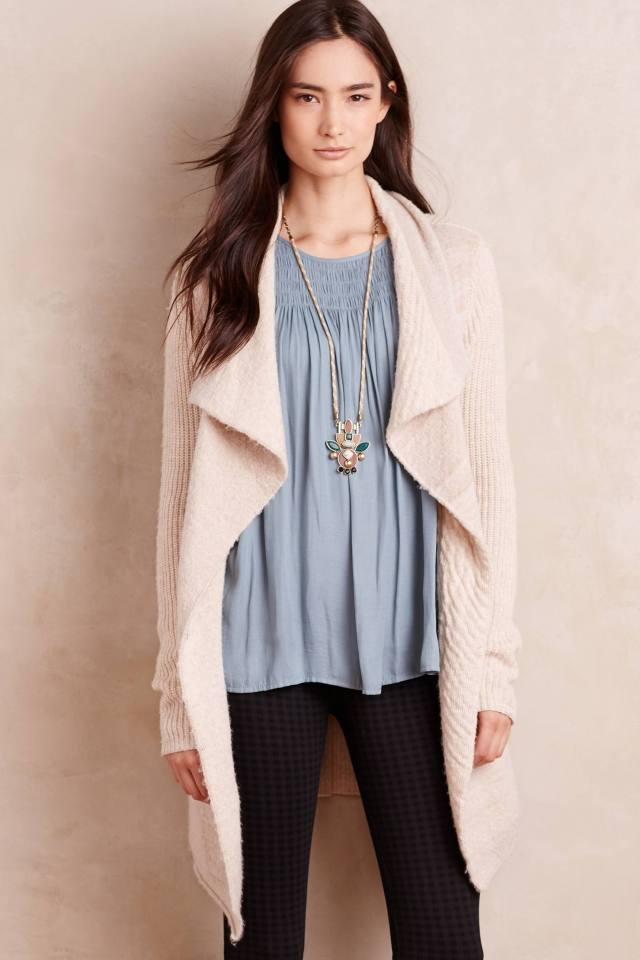 Draped Boucle Cardigan by La Fee Verte
