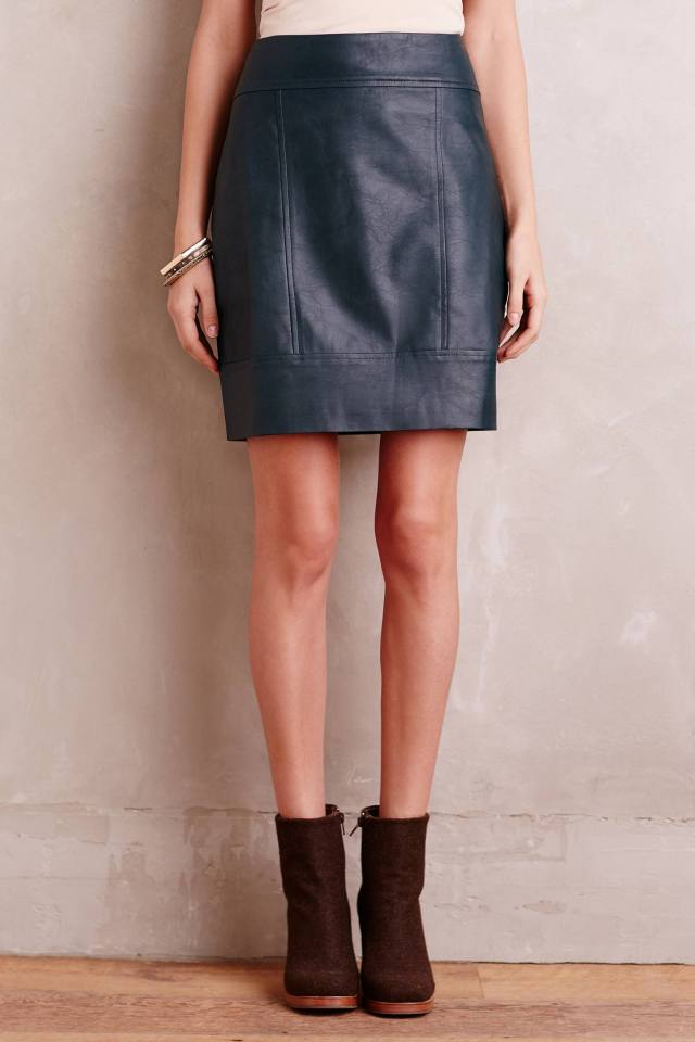 Mossed Vegan Leather Mini Skirt by Myne