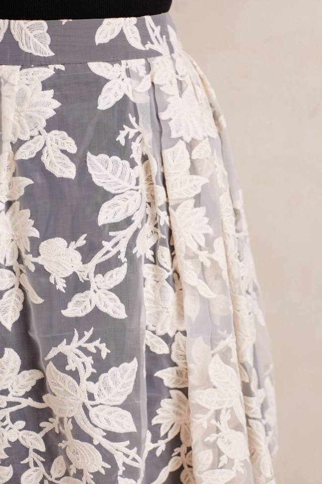 Embroidered Rose Garden Skirt by Erin Fetherston