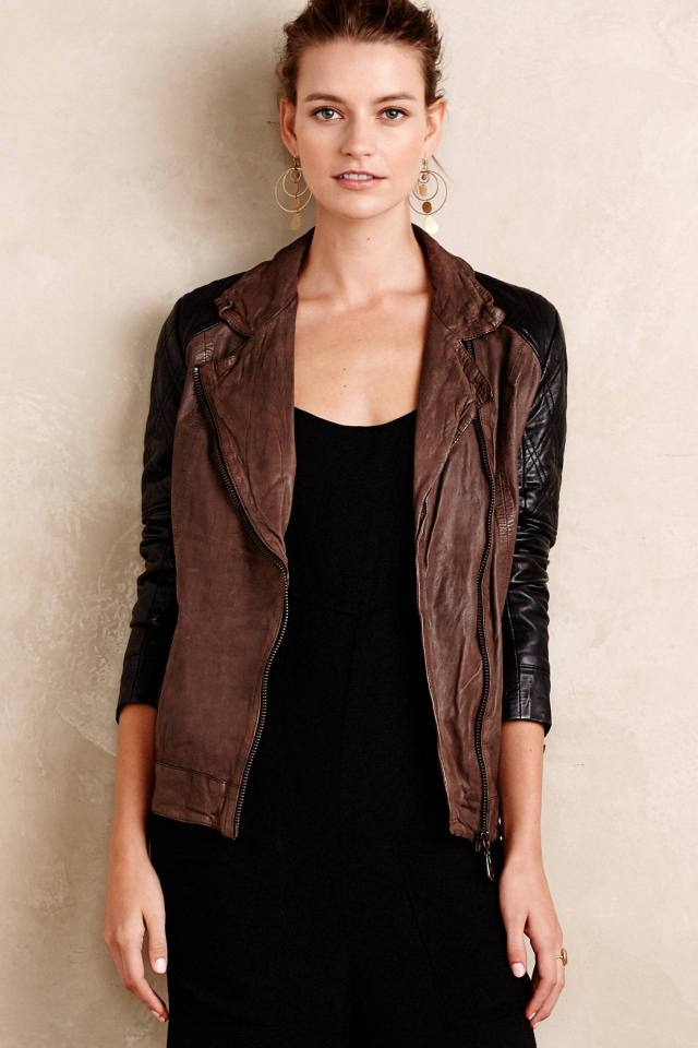 Colorblocked Leather Moto Jacket by Doma