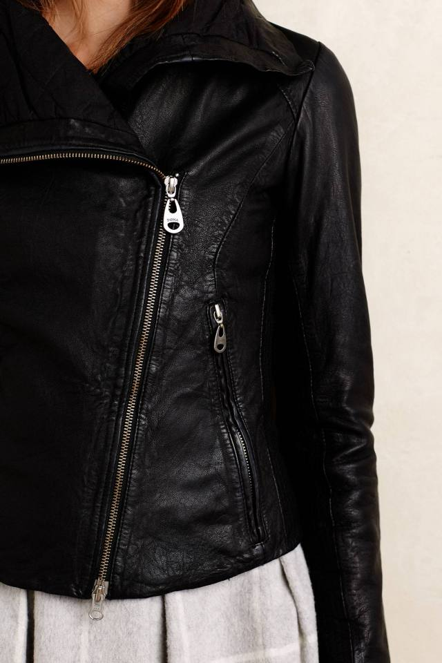 Collared Leather Moto Jacket by Doma