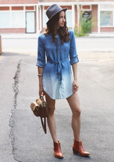 Dip-Dyed Chambray Tunic by Holding Horses