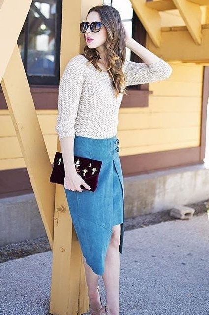 Pieced Suede Skirt by Leifsdottir