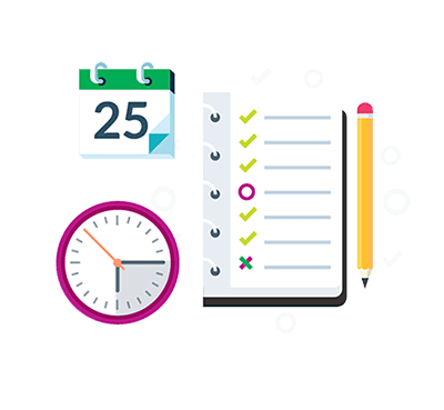 Planner, Clock and Calendar Iconagraphy