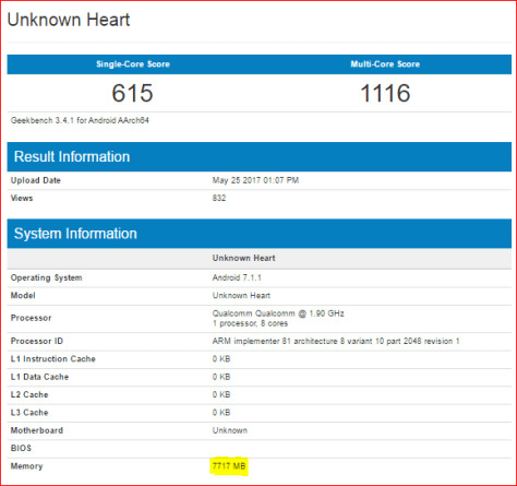 new phone listed geekbench 8gb ram
