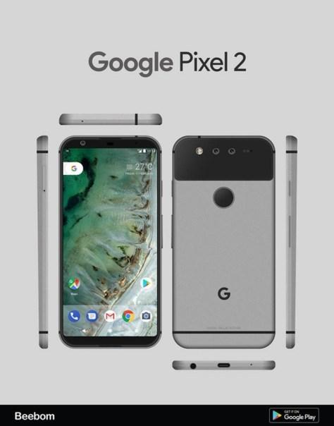 Google Pixel 2 Render Leaked shows Bezel Less Design