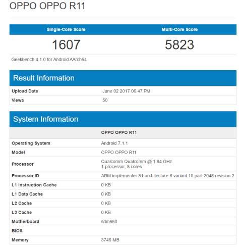 oppo r11 seen geekbench snapdragon 660