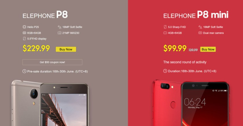 elephone p8 p8 mini pre sale participate win 50 coupon
