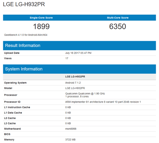 new lg flagship lge lh932pr listed geekbench