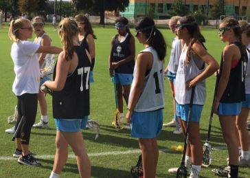 C2C Sporlight guest coach Ashley Bruns (Arizona State assistant) gets the girls ready for a drill