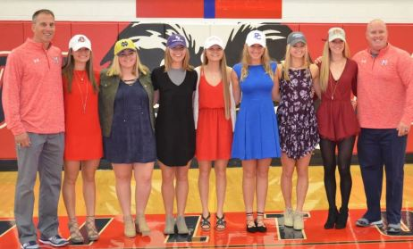 Milton: Coach Tim Godby, Sophie Baez, Bridget Deehan, Hannah Demis, Jennifer Shield, Kelly Hyman, Sydney Catts, Courtney Hutchinson, Coach Matt Snyder