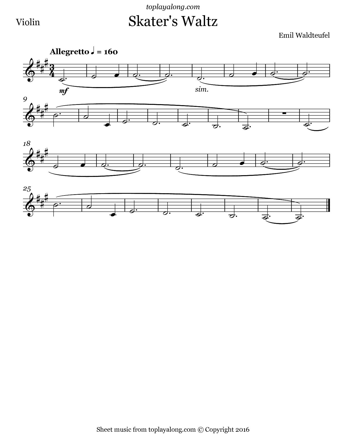 Waltz Violin Skaters Music Sheet