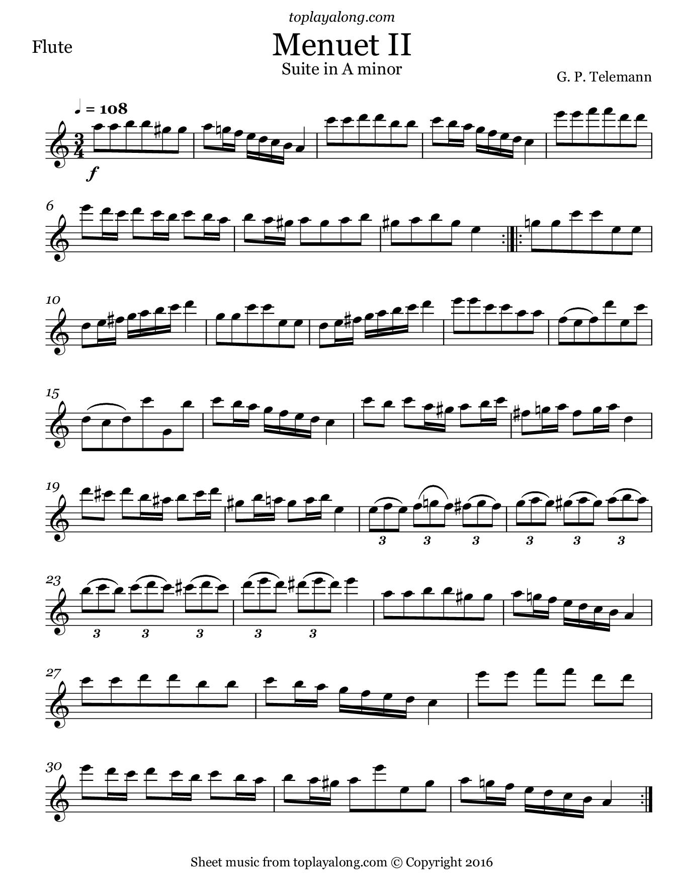 Free Sheet Music Recorder Telemann