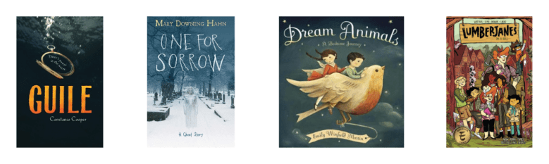 Book covers for: Guile, One for Sorrow, Dream Animals, and Lumberjanes Vol. 1