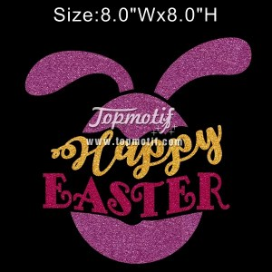 Bling Iron On Happy Easter Glitter Vinyl Heat Transfer