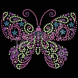 Pink butterfly rhinestone designs for custom shirts