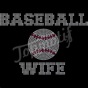 Baseball Wife Rhinestone Iron On Transfer for Sports T-shirt