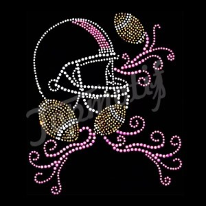 Football Helmet Rhinestones Motif Transfers With Korean Rhinestones T Shirt