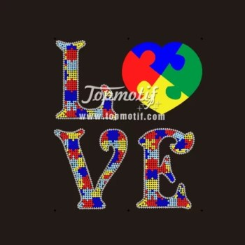 New style LOVE Autism Awareness heat transfers iron on baby clothing