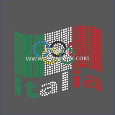 Hot Fix Italia Flag with Five Circle Rhinestone Transfer Wholesale