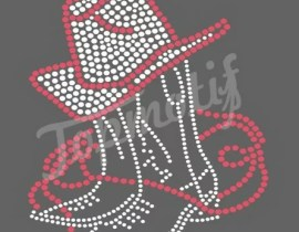 New design Cowboy boots Strass Heat Transfers For T-Shirts decoration