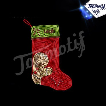 Beautiful chrismas Socks Rhinestone Heat Transfer Design