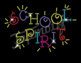 Rhinestone Iron On Transfer Wholesale School Spirit Hotfix Strass Design