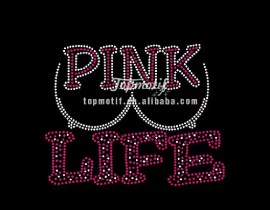 pink life rhinestone custom motif hotfix breast cancer transfer