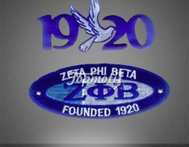 New designs embroidery 1920 zeta phi beta motif patch