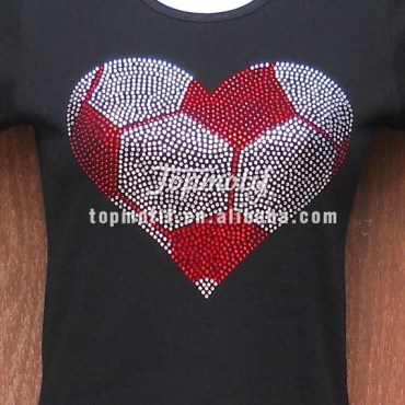 Strass rhinestone Soccer heart Iron on Women's shirt