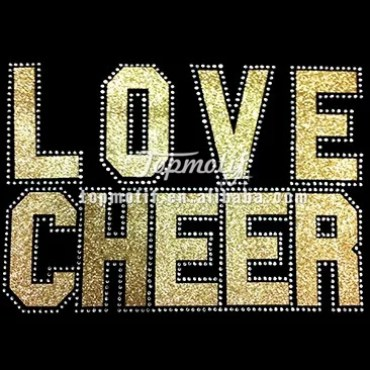 Love Cheer Women's Glitter and Rhinestone T Shirt