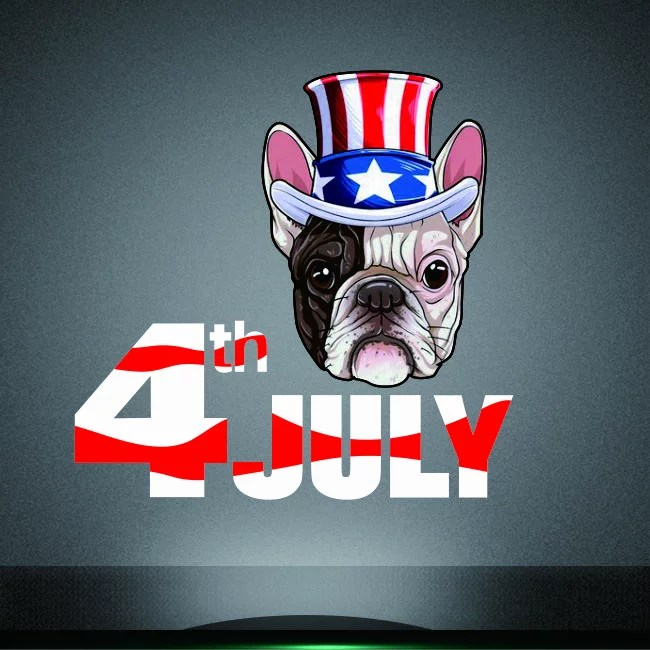 2019 new bulldog 4th of July heat printable transfer