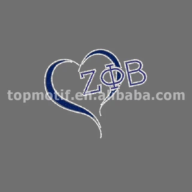 Hot Fix Rhinestone Glitter Transfer Zeta Phi Beta Design